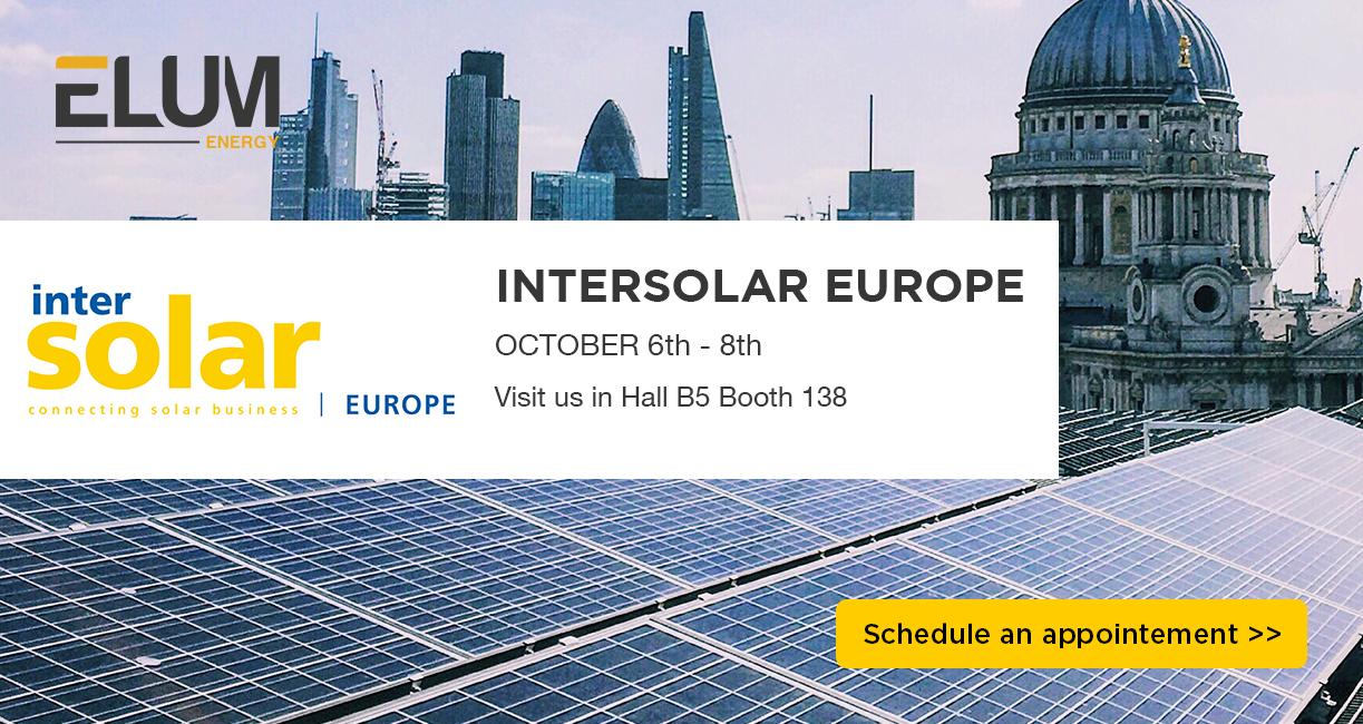 Bannière elum energy pour le stand numéro 138 dans le hall b5 d'Intersolar europe 2021 du 6 au 8 octobre.